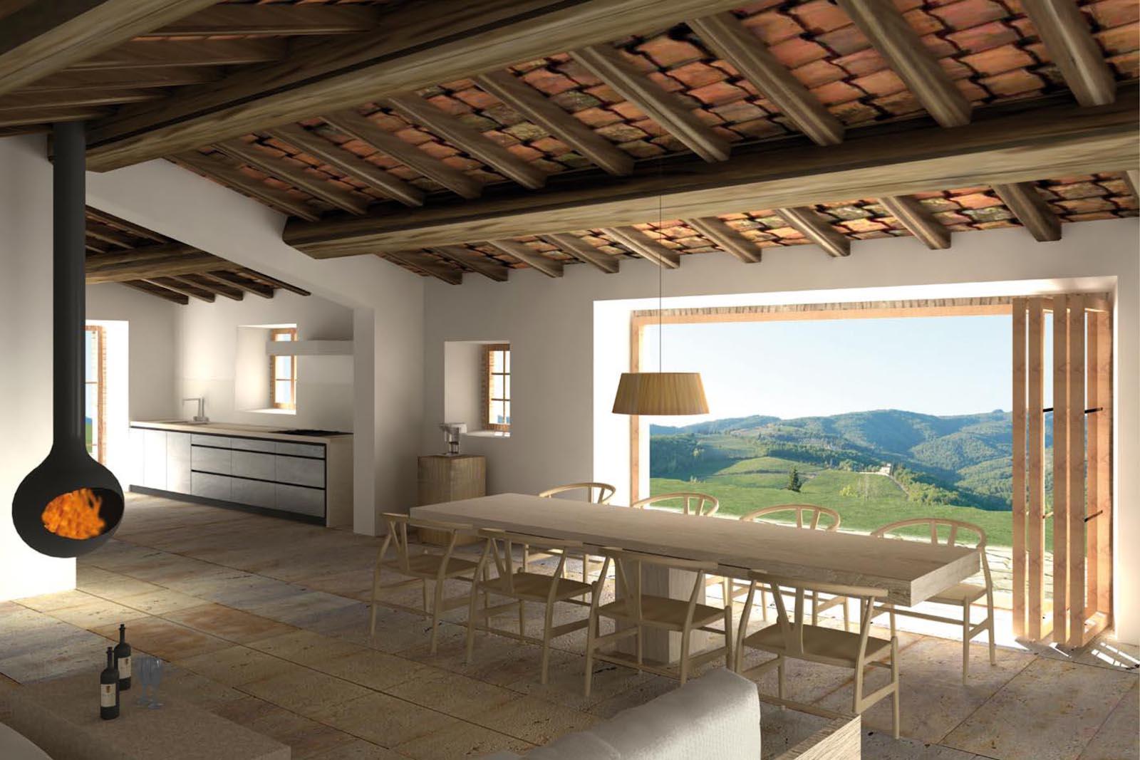 Il soggiorno progettato con luampia vetrata with case di for Case moderne di campagna