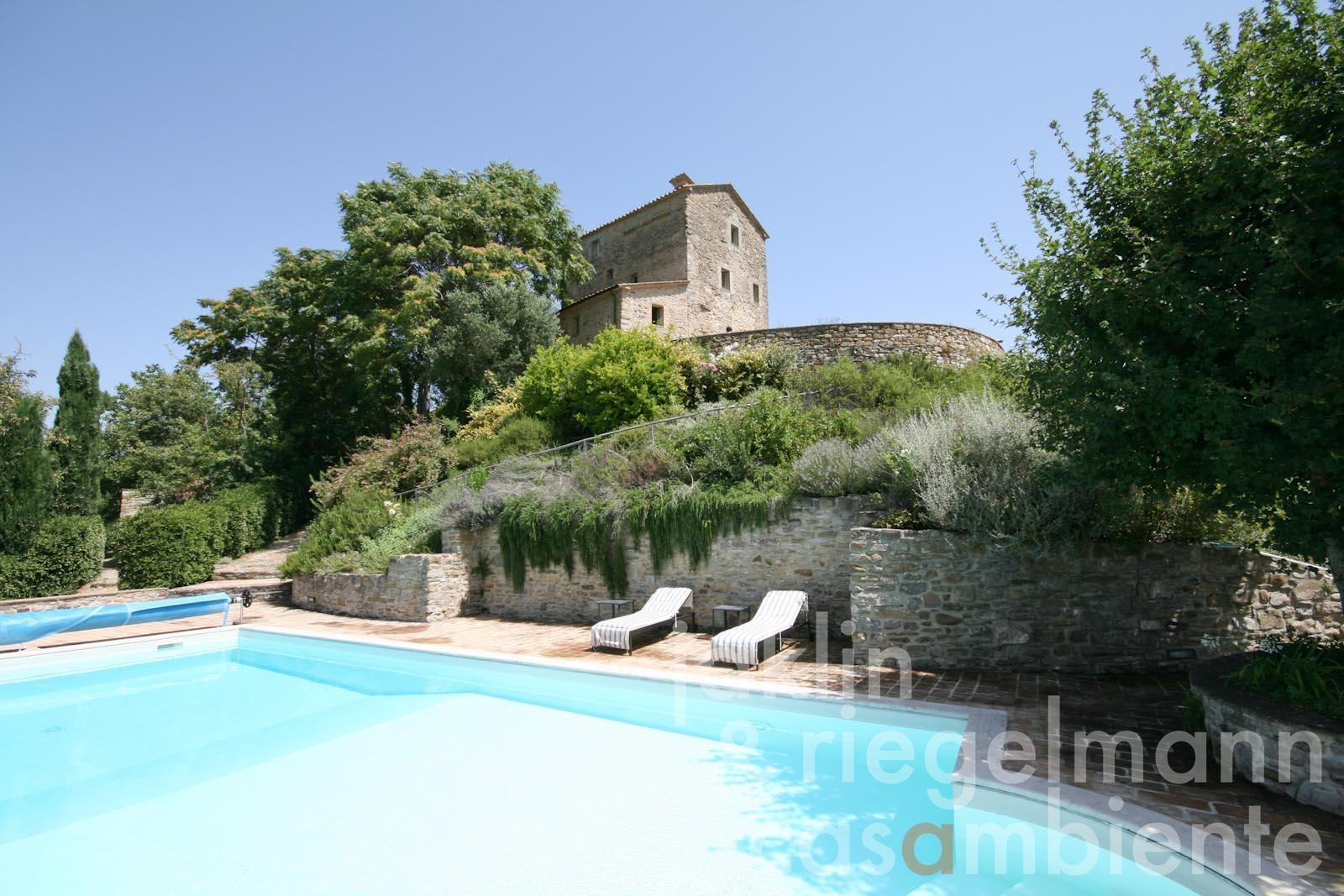 The fully restored ancient watch tower for sale with swimming pool in Umbria