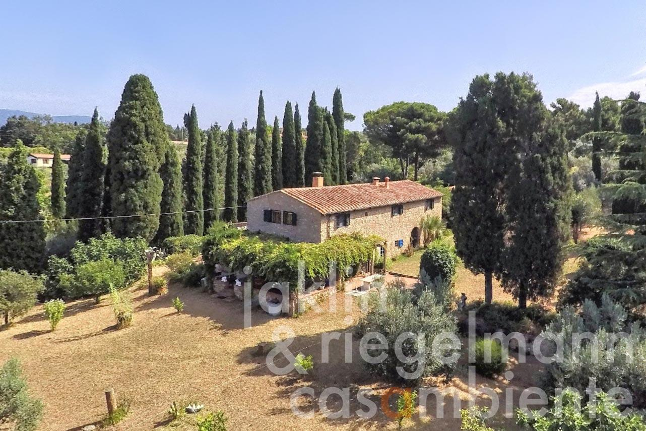 Tuscan country house with cypress and pine trees and sea view close to Bolgheri