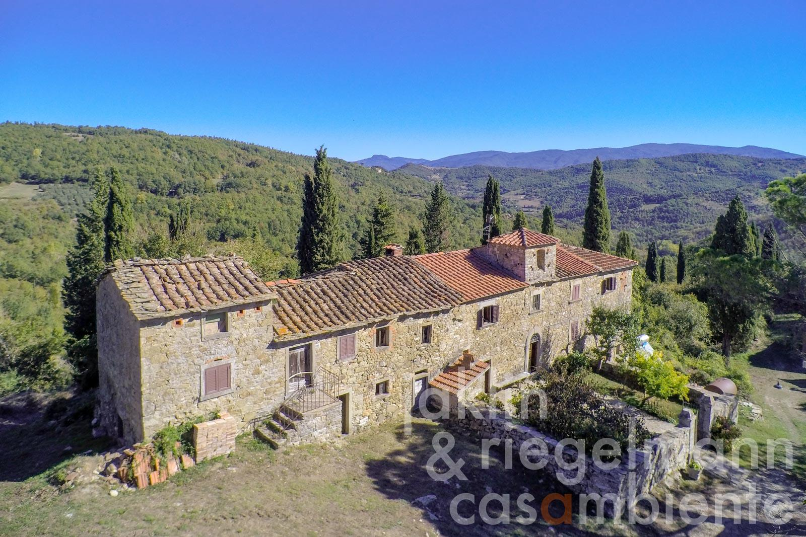 Ancient Borgo with 112 ha of land in the Pratomagno forest area in Casentino