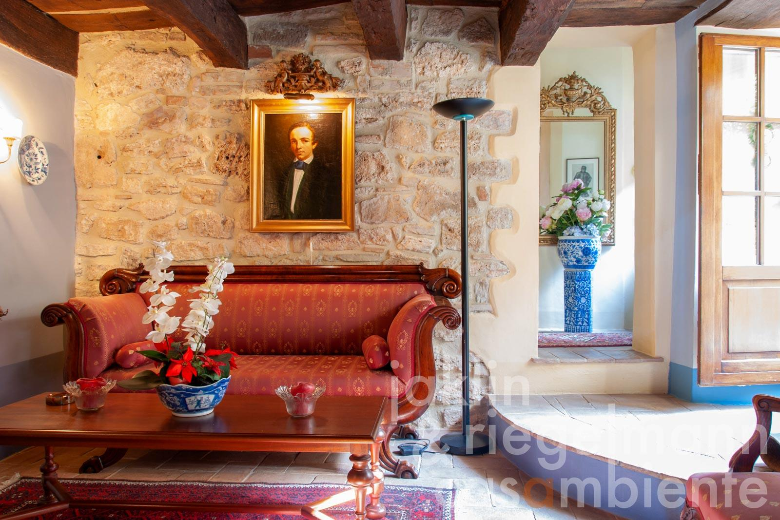 Tastefully restored semidetached town house with large panoramic terrace near Todi