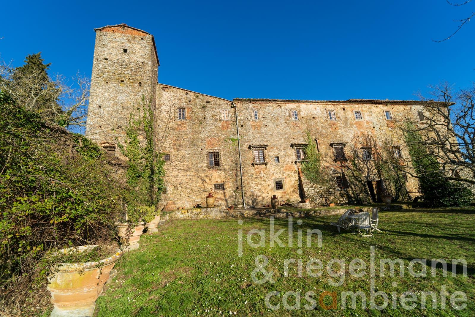 Great historical abbey from the 11th century in the hills of Chianti