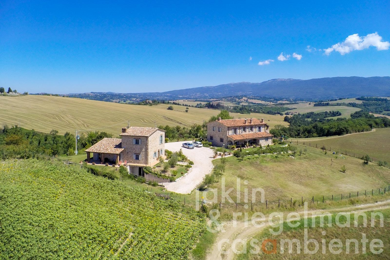 Italian country estate with two newly built country houses and truffle grove near Todi in Umbria