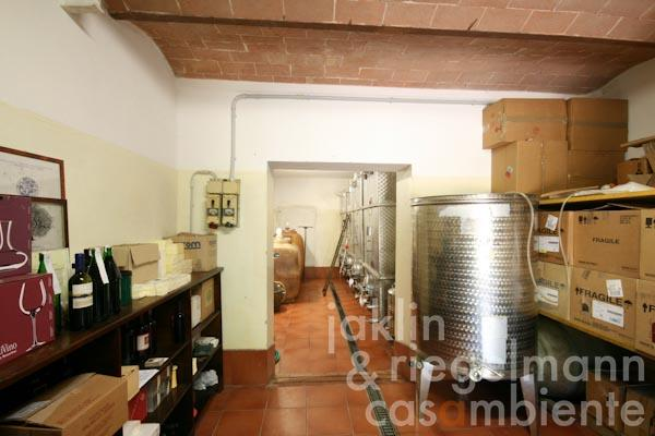 The wine storage with INOX-tanks