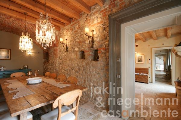 The dining room with access to the wine cellar on the ground floor of the main country house