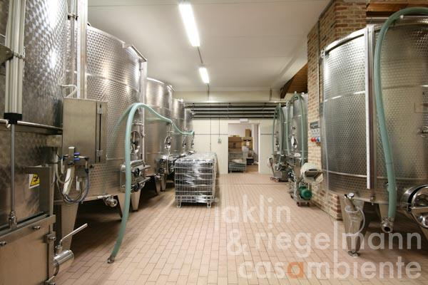 The winemaking and storage areas