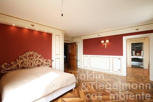 The master bedroom with en-suite bathroom and walk-in wardrobe on the first floor