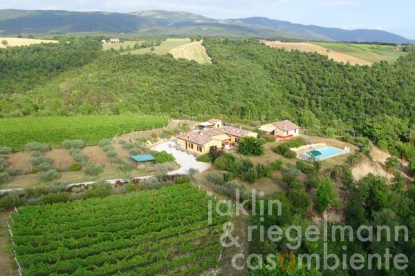 An overview of the winery from the air