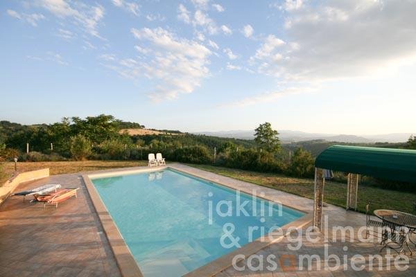 The view from the swimming pool across the Umbrian landscape