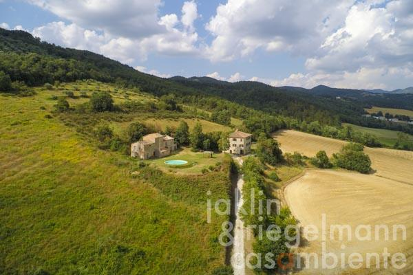 The view from the pool across the Umbrian landscape