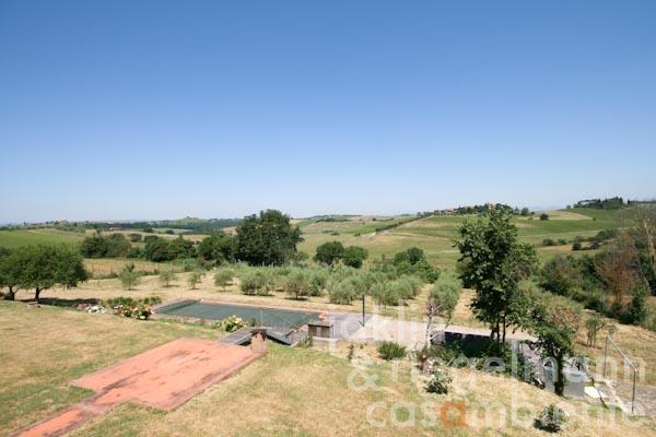 The panoramic view across the swimming pool and into the surrounding landscape
