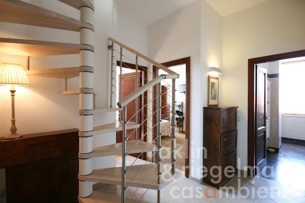 The spiral staircase and the hallway