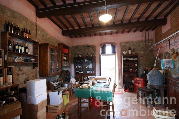 The well-assorted wine cellar on the ground floor of the first apartment