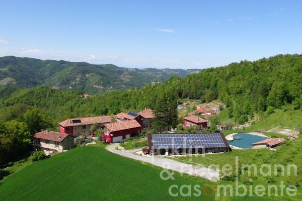 The property in Piedmont for sale with tastefully restored country houses and panoramic views onto the Alps