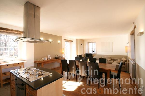 The living- and dining area with open-plan kitchen in the seventh apartment in an annexe building