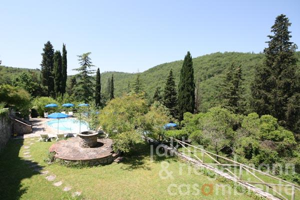 The view from the Villa Padronale onto the swimming pool
