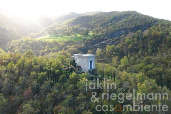 The former watch tower for sale on its own hill in the Casentino valley