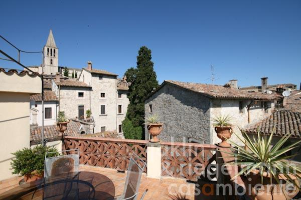 The view from the private roof-terrace onto the neighbouring houses in Todi