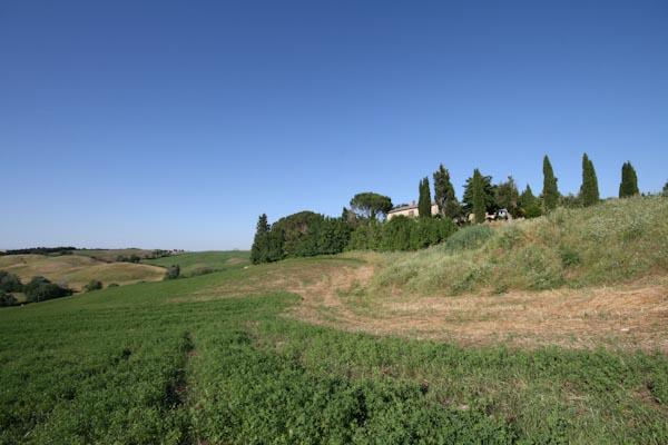 Der Blick von den umliegenden Feldern auf das Landhaus zu verkaufen