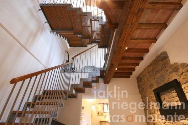 The modern and open stair well in oak and steel