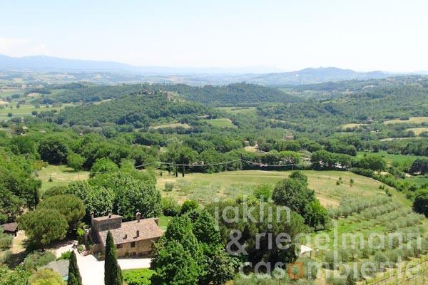The panoramic view across the hills including the town Todi