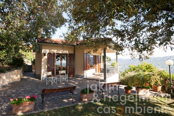 Well-kept villa with garden in panoramic position of the hills near Prato and Florence in Tuscany