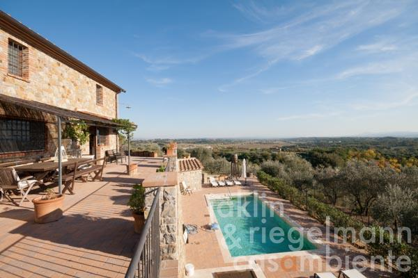 Newly built natural stone house with pool and olive grove in unique panoramic position of Tuscany