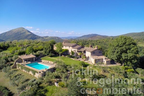 The lovingly restored Umbrian country house for sale with pool in a stunning rural location with breathtaking views