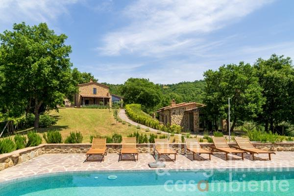 Recently restored farmhouse with annexe and pool with scenic views of the Medieval village of Preggio in Umbria