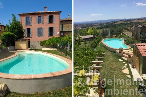 Town house with garage, garden, swimming pool, and stunning views south over the Tiber Valley