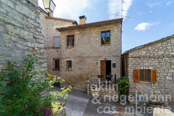 Delightful village house with panoramic terrace situated in a pretty little village between Marsciano and Orvieto
