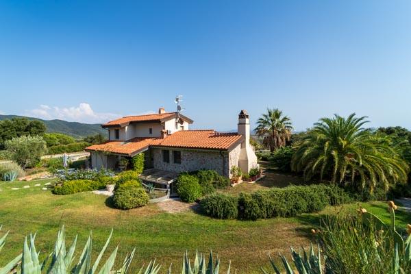 Splendidamente situata casa di campagna con palme e vista mare vicino a Castiglione della Pescaia sul Mar Tirreno