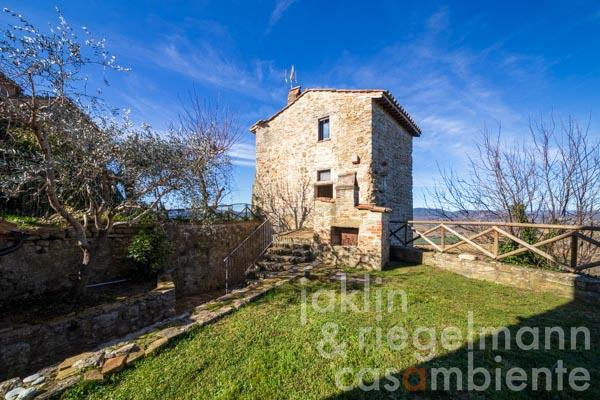 Cleverly restored medieval tower close to Lake Trasimeno in Umbria